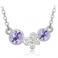Crystal Purple Butterfly Necklace