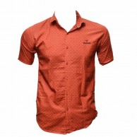 Cotton Short Sleeve Red Color Printed Shirt