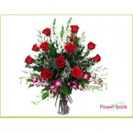 Red Roses with Purple Orchid BD002