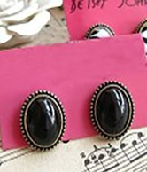 Lovely Vintage Style Elliptic Ear Stud  Black