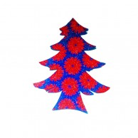 Pack Of 10 Red Flower Designed Christmas Decoration Tree Stickers