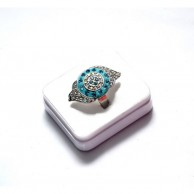 Silver Plated Ring with Blue Design