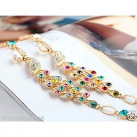 Women's Gold Plated Colorful Crystal Bird Peacock Stylish Bracelet