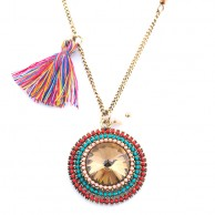 Multicolored Tassled Sphere Long Chain LCNMTS