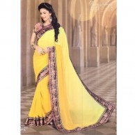 Plain Floral Jacket Saree SR1398