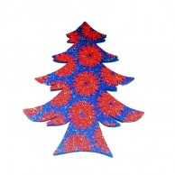 Pack Of 10 Dark Blue And Red Christmas Decoration Tree Stickers