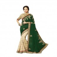 Green Cream Designer Saree