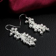 Silver Plated Grapes Earrings
