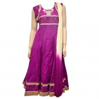 Cotton Purple Casual Wear Shalwar With Gold Border