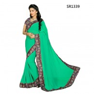 Plain Floral Jacket Saree SR1339