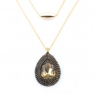Amber Antique Teardrop Long Chain LCNAAT
