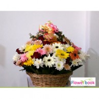 Mix colour chrysanthemum and mix gerberas in basket CON0010