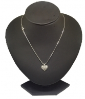 Women's Chain with White Crystal Heart Pendant