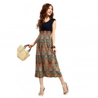 Chiffon Flower Printed Maternity Dress with Elasticity Waist NIS 148