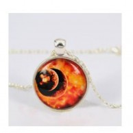 Vintage Two Planets Pendant Necklace