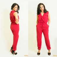 Wine red casual wear jumpsuit - 60570