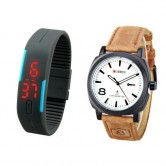 Pack Of 2 Curren Analog & Black LED Watch