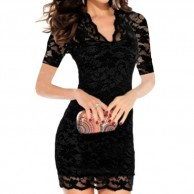 Womens V neck Black Short Sleeve Lace