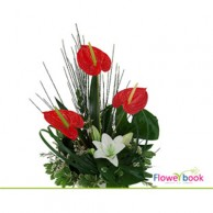 Red anthurian 3 nos and one arum lilly flower arrangement TH008