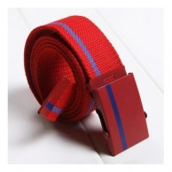 Men's Striped Belt Red