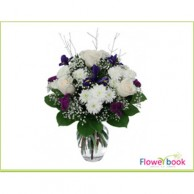 White roses with Baby spreath flower arrangement SM001