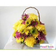 Mix colour chrysanthimum 15 nos flower arrangement CON005