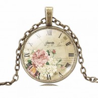 Vintage Rose & Clock Necklace