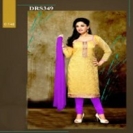 Yellow Chanderi Cotton Dress Material