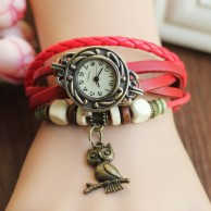 Ladies Watch Leather Strap Casual Antique Orange Leather