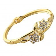 Austrian Yellow Gold Plated Flower Bracelet