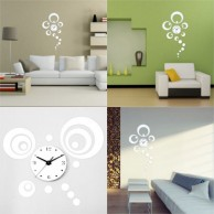 Luxury Circles Mirror Clock Wall Stickers
