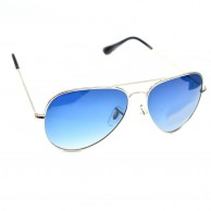 Blue Shaded Aviator Polarized Sunglasses For Men With Pouch