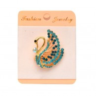 Peacock Blue Stoned Gold Plated Brooches
