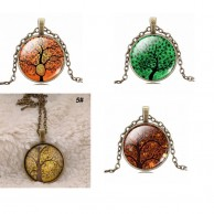 5X Vintage Tree Picture Necklace Collection