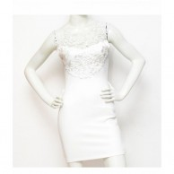Lace Fill Women Dress - White