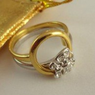 2 tone Butterfly circle Gold Plated Ring set