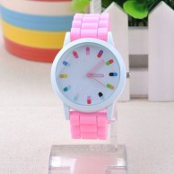 Jelly Ice Colorful Dial Numbers Silicone Wrist Watch Pink