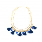 Blue Tassle And Gems Collar SCNBTG