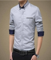 Men's Casual Slim Fit Long Sleeves Shirts - Grey