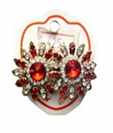 Women's Red Crsystal Simulated Diamond Flower Design Earrings
