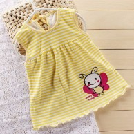 Cute BAby Girl Yellow Stripes Frock