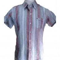 Red and Grey Linen Stripes Men Shirt