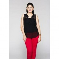 Black Sleeveless Ladies Top 1038