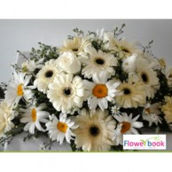 White rose and gerberas with daisy coffin flower arrangement SM009