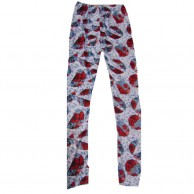 Printed Leggings Red With Grey