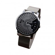 Turntable Dial Black Mesh Band Watch