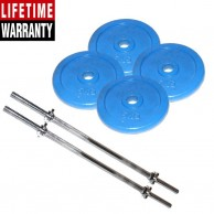 4 Pack Of 5Kg Blue Hand Painted Weight Plate plus 3 Feet 2 Barbell