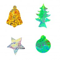 12 pieces Pack of Stars Designed Multi Shapes Christmas Decoration Stickers