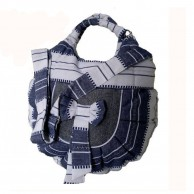 White And Blue Padded Ladies Shoulder bag