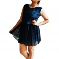 Blue n Black Flaired Lace Dress